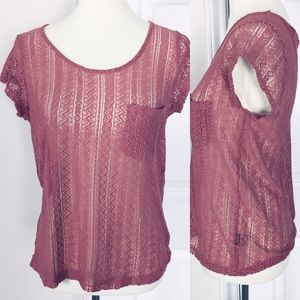 Iris Basic Sheer Lace Blouse Pink M